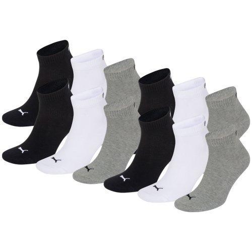 PUMA Unisex Quarters Socken Sportsocken 12er Pack grey / white / black 882 - 35/38