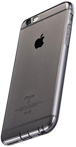 Coverbasics procam 0.33mm per apple iphone 6 e 6s 4.7 con bordo proteggi fotocamera e tappi antipolvere cover custodia morbida nero grigio fume trasparente silicone gel sottile tpu sottile ultra slim