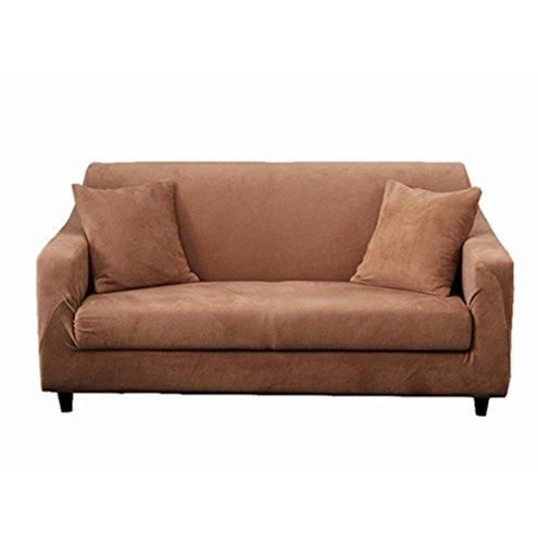 Hm&dx peluche copertura divano elastico 1-pezzo surefit antiscivolo antimacchia colore puro fodera per divano copridivano copertine mobili coperture per 1 2 3 4 cuscino divano -cachi posti di amore