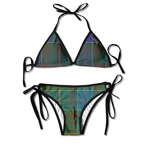 Scottish Kostüm Women's - Women Swimwear Classic Scottish Plaid Funny Sexy Bikini Sets 2 Piece Bathing Swimsuits Tie Back Bikinis
