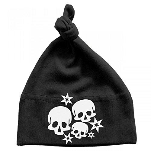 Mikalino Baby Mütze Skulls and Stars, Größe:0-6 Monate;Farbe:schwarz