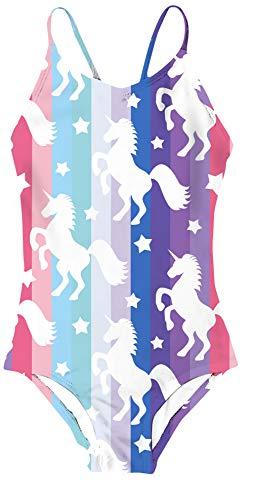 teilige Pferd Drucken Schwimmen KostüM Kinder Kind Regenbogen Drucken Badebekleidung Schnell Trocken Badeanzug ()