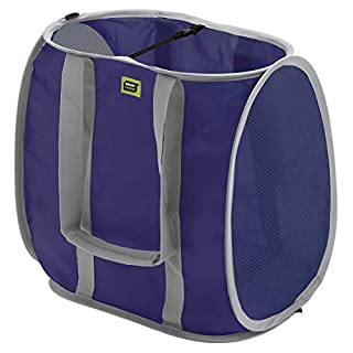 Smart Design Pop-Up Shopping Bag w/Padded Handles - Large - Heavy Duty Polyester - Folds Flat - for Supermarket Shopping, Vehicles, Storage - Home Organization (15 x 10 Inch) (Navy w/Gray Trim)