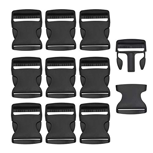 RETON Black Adjustable Buckles Plastic Side Buckles (50 MM, 10 Pieces)