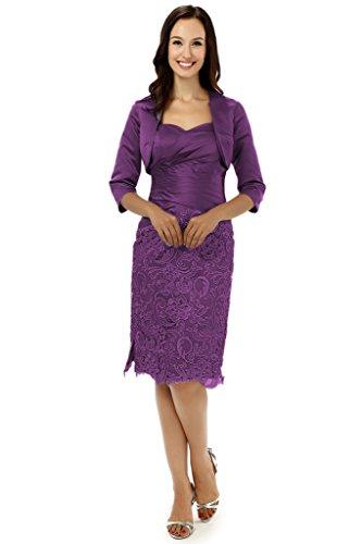 Albrose breve Satin abito formale Madre della Sposa Prom dresses Purple 46