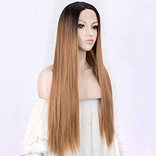 YHXQM Remy Human Hair Lace Front Wig Layered Haircut Brazilian Hair Straight Blonde Wig 130% Density with Baby Hair Ombre Hair Dark Roots Blonde Women' s Human Hair Lace Wig Aili Young Hair