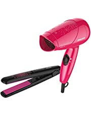 Philips HP8643/46 Styling Kit with Straightener and Dryer (Pink/Black)