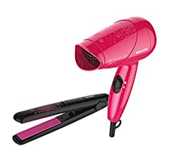 Philips HP8643/46 Ms Fresher Philips Essential Dryer and Straightener (Pink/Black)