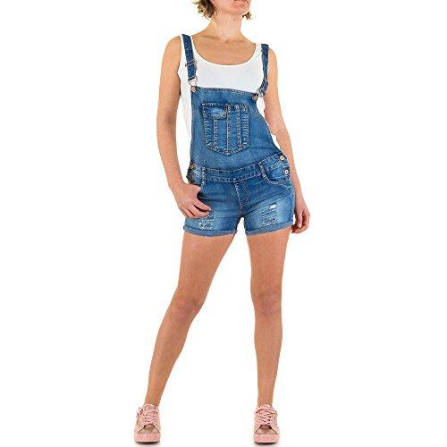 Damen Shorts Destroyed Cargo Bermuda kurze Hose Hotpants Jeans Hot Pants Latzhose Blau 34