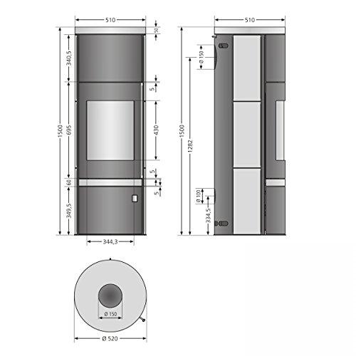 Justus Faro Plus 469311 Kaminofen Stahl Schwarz Abdeckplatte Speckstein Grau 7kW -