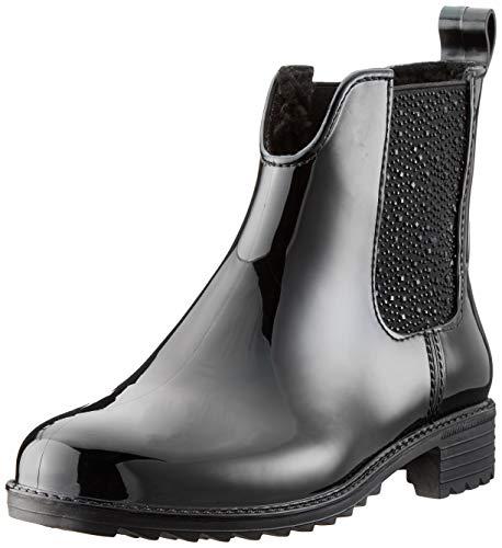 Rieker Damen Chelsea Boots P8280,Frauen Stiefel,Halbstiefel,Stiefelette,Bootie,Schlupfstiefel,gefüttert,Winterstiefeletten,Blockabsatz 3.6cm,schwarz/schwarz/schwarz, EU 40