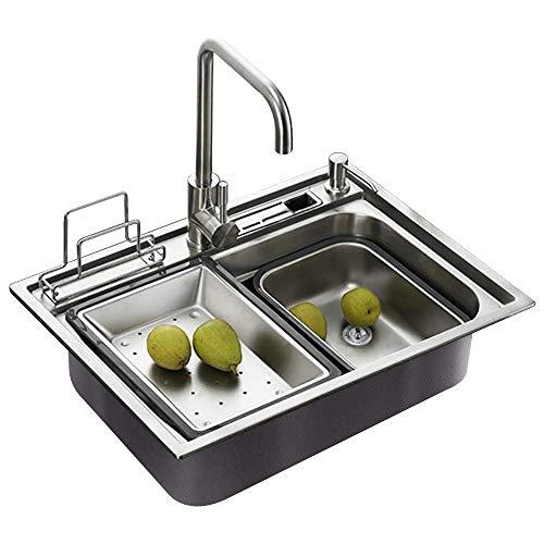 Homelavafans évier inox de cuisine à un 1 bac en acier inoxydable 304 avec deux plaques de filtre...