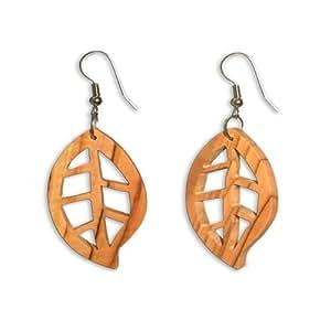 Fait à la main en bois d'olivier Feuille Boucles d'oreilles–Commerce équitable