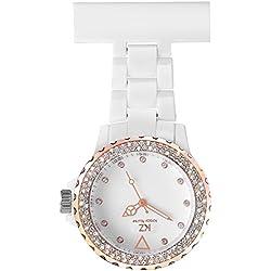 Krazy Nurse Prestige - Montre Infirmière en PVC Blanc Rosé Diamants Cz KRAZY 11