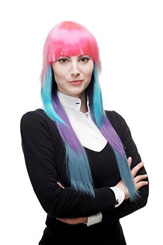 WIG ME UP - Perücke Damenperücke Cosplay Krass Neon Bunt Pink Blau Weiß lang glatt Pony gestuft (Neon Perücke Blau)