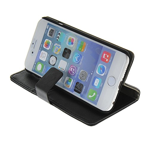 MOONCASE Coque en Cuir Portefeuille Housse de Protection Étui à rabat Case pour Apple iPhone 6 ( 4.7 inch ) Blanc Noir