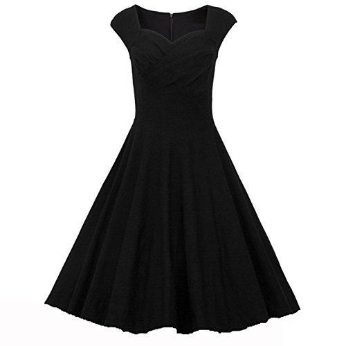 Ecollection Damen Audrey Hepburn 50s Retro vintage Bubble Skirt Rockabilly Swing Evening Kleider Black