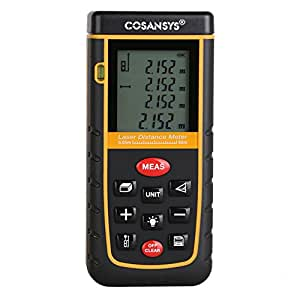 COSANSYS® Laser Distance Meter with Bubble Level Rangefinder Range Finder Tape measure 60m(192ft) Black&yellow