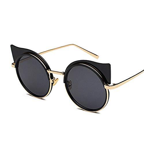 Gy-hhhh occhiali da sole retrò con montatura in metallo zebra femminile - occhiali da sole a righe cat eye - occhiali da sole rotondi casual-neri