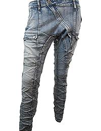 Lexxury Mujer baggy novia carga trabajador Stretch Jeans inferior entrepierna cremallera larga