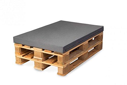 TexDeko Bezug für Palettenpolster, Palettenkissen Euro-Palettenpolsterung Schaumstoff - In & Outdoor 120x80x10cm, Grau