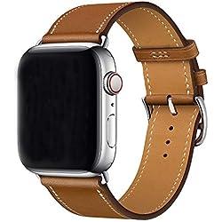 XCool pour Bracelet iWatch 44mm 42mm, Cuir Marron Single Tour Bande de Remplacement pour iwatch Series 5 Series 4 Series 3 Series 2 Series 1 Hermes