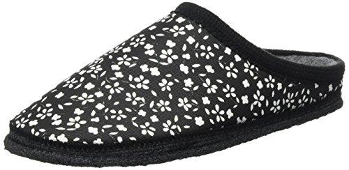 Kitz - Pichler Biosoft, chaussons d'intérieur mixte adulte Schwarz (schwarz Blumen)