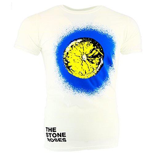 Men's Official The Stone Roses Lemon and Blue Surround T-shirt, White - S to XXL