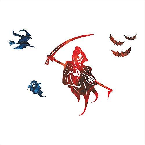 XCGZ Wandsticker Hallowmas Halloween Wandbild Hexe Scythe Bat Battalion Bar Decor Abnehmbare dekorative Aufkleber