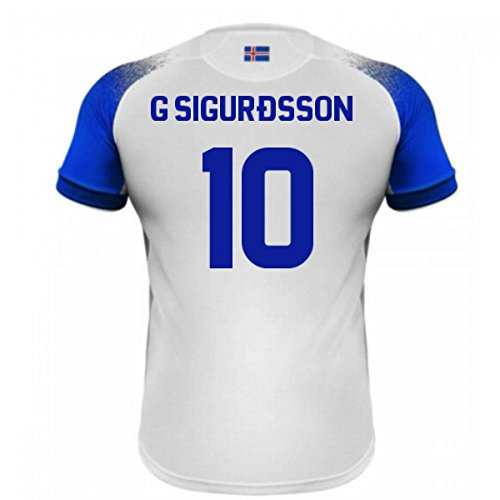 UKSoccershop 2018-2019 Iceland Away Errea Football Shirt (G Sigurdsson 10)