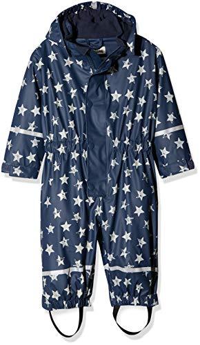 Playshoes Playshoes Baby - Jungen Regenjacke Regen-Overall, Regenanzug Sterne mit Fleece-Futter, Blau (Marine 11), 74