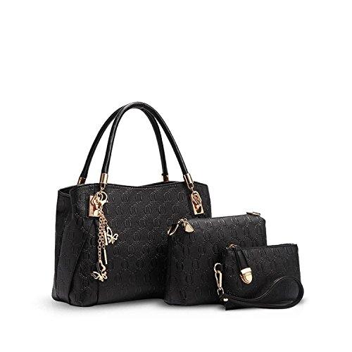 NICOLEDORIS-Fashion-Women-3PCS-Bag-Tote-Handbag-Shoulder-Bag-Messenger-Waterproof-PU-Leather
