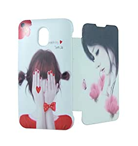 Exclusive Flip Case Cover For HTC Desire 210 Dual Sim - Flower Girl