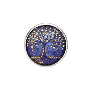 Edelstahl Brosche, Durchmesser 25mm, Stift 0,7mm, handgemachte Illustration Baum des Lebens 3