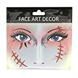 Danigrefinb - Adhesivos temporales para Tatuaje de Halloween, Fiesta, Etapa de Maquillaje, decoración Facial con Purpurina, FS01