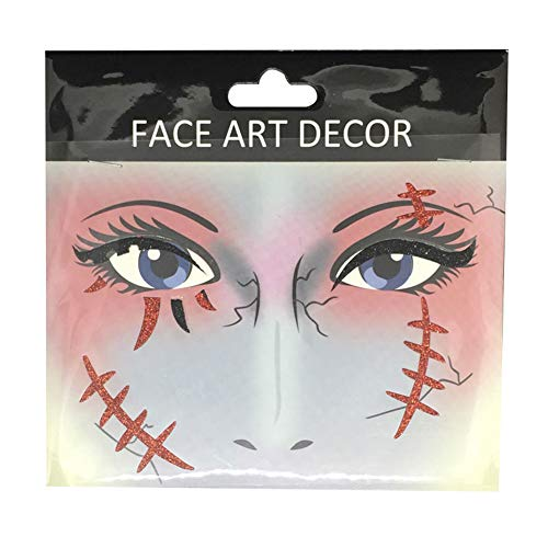 Danigrefinb Face Decor Glitzer temporäre Tattoo Aufkleber Halloween Party Stage Make-up Prop
