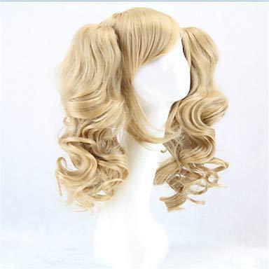 Lolita Perücke ponytails hitzebeständig wellige synthetische Perücken lockigen blonden 2 Pferdeschwanz Animeperücke, Blonde ()