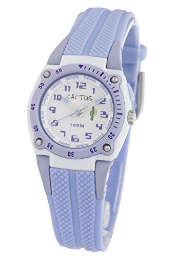 Cactus Kinder Quarz-Uhr mit weißem Zifferblatt Analog-Anzeige und lila Kunststoff oder PU Gurt cac-37-m09