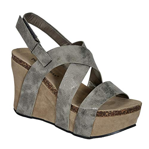 Kids Pierre Dumas CHICK-3 42553211 Pewter Strappy Platform Wedge Heel Shoes
