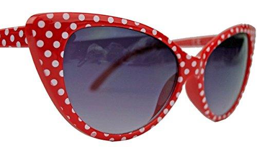 50er 60er Jahre Damen Retro Sonnenbrille Cat Eye Katzenaugen Rockabilly Modell FARBWAHL KE (Small Dots (Brille Red Eye Cat)