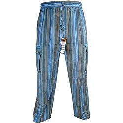 LITTLE KATHMANDU - Pantalones sueltos de verano de algodón para hombre, cintura elástico turquesa Striped Turquoise XXXL