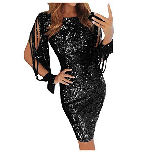 Zottom Damenmode Pailletten mit Fransen Laterne Ärmel Rundhalsausschnitt Sexy Off-The-Shoulder-Ausschnitt Einfarbiges Kleid(h-Schwarz,Medium) -