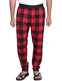 Twist Men's Red And Black Checked 100% Cotton Pyjama Sleepwear Night Wear With Contrast & Free Shipping