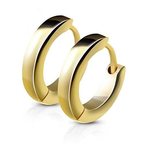 Schmale Creolen von Bungsa® | Hochwertige Edelstahl-Ohrringe Damen & Herren | Edelstahl-Creolen für jeden Anlass | Creolen-Gold
