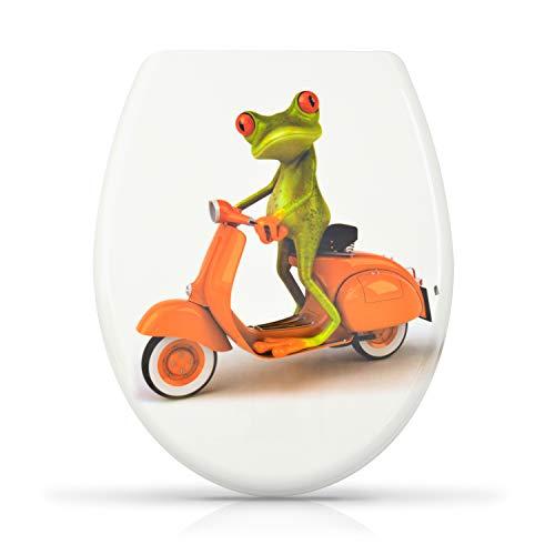 """WC Sitz mit Absenkautomatik -\""""Biker Frosch\"""" Design - Duroplast Toilettendeckel mit Motiv inkl. Montagesatz - Grinscard"""