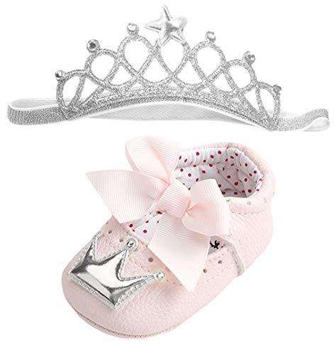 DEMU Stirnbänder Baby Mädchen Haarband Krone Kopfband Set mit Schuhe Taufe Geschenk Pink mit Silber 6-12 Monate
