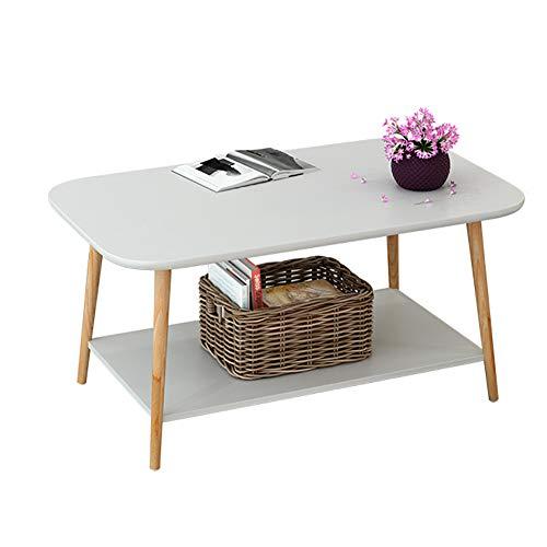 SQIHUI Massivholztisch Wohnzimmer Kleiner Couchtisch Schlafzimmer Nachttisch Zu Hause Unterstützung Ablagetisch,Weiß