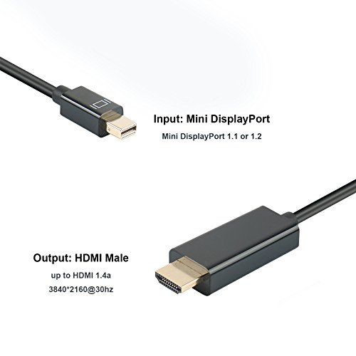 Benfei 4K smaller DisplayportThunderbolt to HDMI 6 Feet Cable with the help of new music smaller DP exhibit Port to HDMI ConverterAdapter Gold Plated Cord for MacBook Air Mac smaller Microsoft area Pro 3 4 etc DVI HDMI Adapters