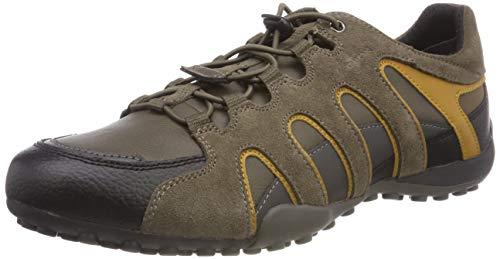 Geox Herren Uomo Snake A Sneaker, Braun (Taupe/Ochreyellow Cq62p), 44 EU