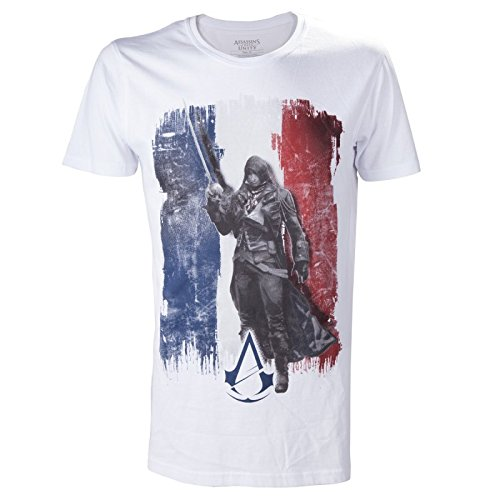 assassin's creed TS178901ASC-M - ASSASSIN'S CREED Unity French Tricolour Flag Medium T-Shirt, Adult Male, White (TS178901ASC-M) (Flag T-shirt Adult)